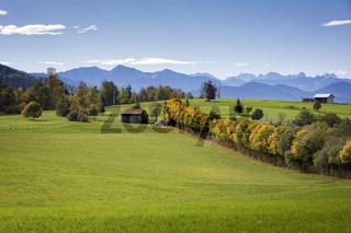 Landschaft in Oberbayern im Herbst mit Alpenblick