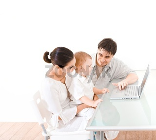 Family using laptop