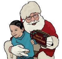 Santa Claus Hugging Little Boy