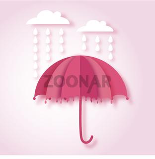 paper art vector illustration with umbrella and rain drops