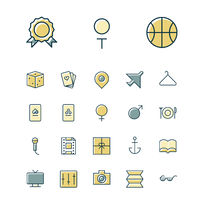 Thin line icons for leisure, travel and sport