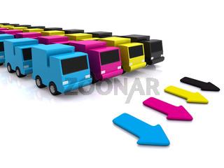 CMYK cars with arrows. 3D