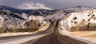 Highway Approaches South Fork River Crossing Utah