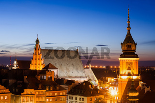 Old Town of Warsaw skyline at twilight in Poland