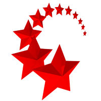 Eleven red stars on white background