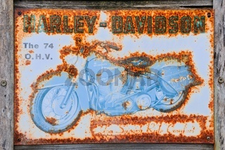Blechschild The 74 O.H.V. Harley Davidson