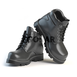 Pair of black boots isolated on white background.
