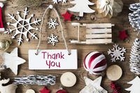 Rustic Christmas Flat Lay, Text Thank You