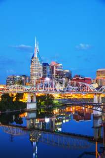 Downtown Nashville cityscape in the evening
