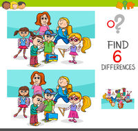 find differences with school children characters