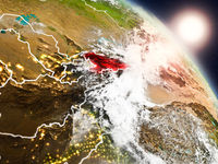 Kyrgyzstan from space during sunrise