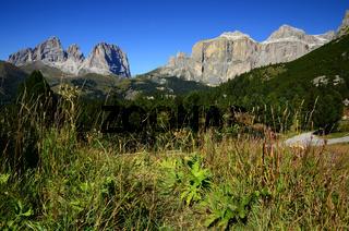 Sellagruppe und Langkofelgruppe in den Dolomiten, Suedtirol, Italien