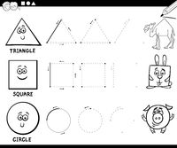 draw basic geometric shapes coloring page
