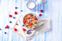 muesli breakfast menu with forest fruits