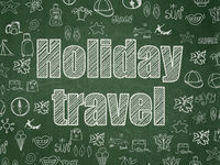 Travel concept: Holiday Travel on School board background