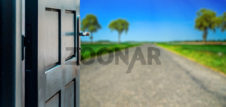 Opened door concept to beautiful road contryside landscape