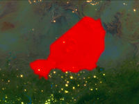 Niger in red at night