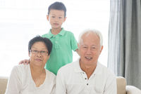 Asian grandparents and grandson