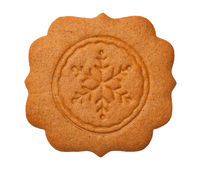 Gingerbread Label with Snowflake Isolated on White Background