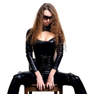 Sexy woman in skintight latex