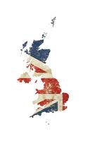 UK map shaped grunge vintage Great Britain flag