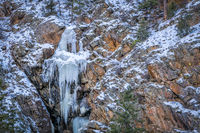frozen waterfall in the Poudre River Canyon