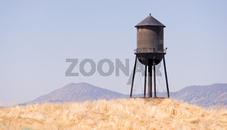 Beautiful Black White and Blue Water Storage Tower