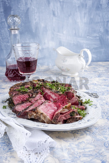 Sliced Porterhouse Steak on Plate