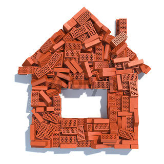 House from bricks isolated on white. Construction concept.