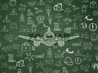 Tourism concept: Aircraft on School board background