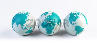 3 computer rendered globes