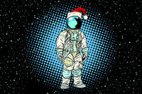 Christmas lone astronaut in the Santa hat