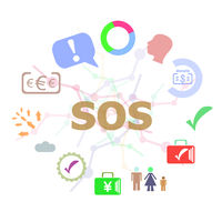 Text Sos. Social concept . Set of line icons and word typography on background. Creative solution concept