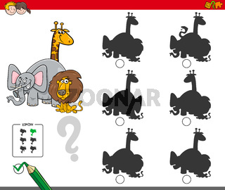 shadow activity game with animals characters