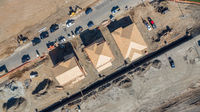 Drone Aerial View of Home Construction Site Early Stage.