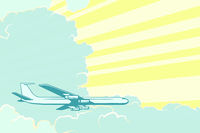 Retro airplane flying in the clouds. Air travel background