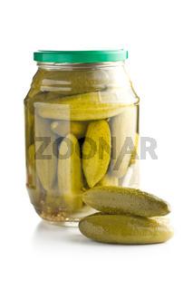 Preserved cucumbers. Tasty pickles.