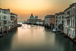 Grand Canal and Santa Maria della Salute Church from Accademia Bridge Venice, Italy