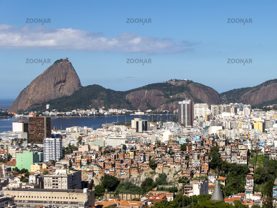 Sugar Loaf and social inequality. Rio de Janeiro