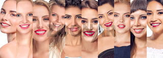 Collage set of women faces