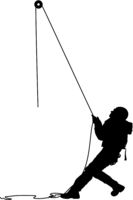Black silhouette craftsman pulling rope on white background