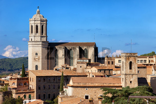 City of Girona cityscape with Cathedral of Saint Mary of Girona in Catalonia region