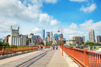 Downtown Minneapolis as seen from the Stone arch bridge