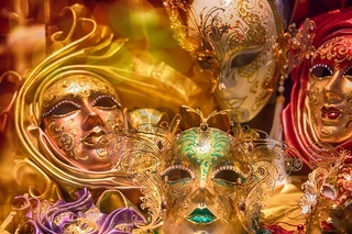 Beautiful Venetian masks background