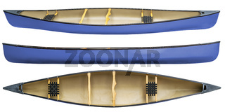 blue tandem canoe isolated