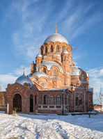 Great red-brick Cathedral of all who sorrow joy in Saint John the Baptist Monastery. Sviyazhsk