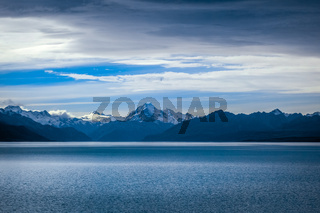 Pukaki lake at sunset, Mount Cook, New Zealand