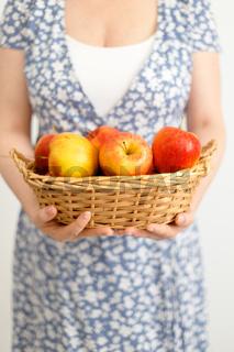 apples in woman's hands
