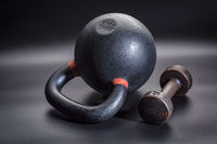 kettlebell and dumbbell - fitness concept