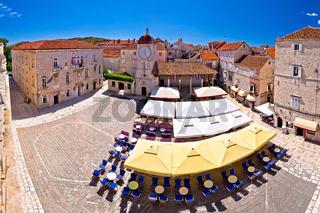 UNESCO Town of Trogir main square panoramic view